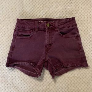 american eagle wine colored distressed shorts